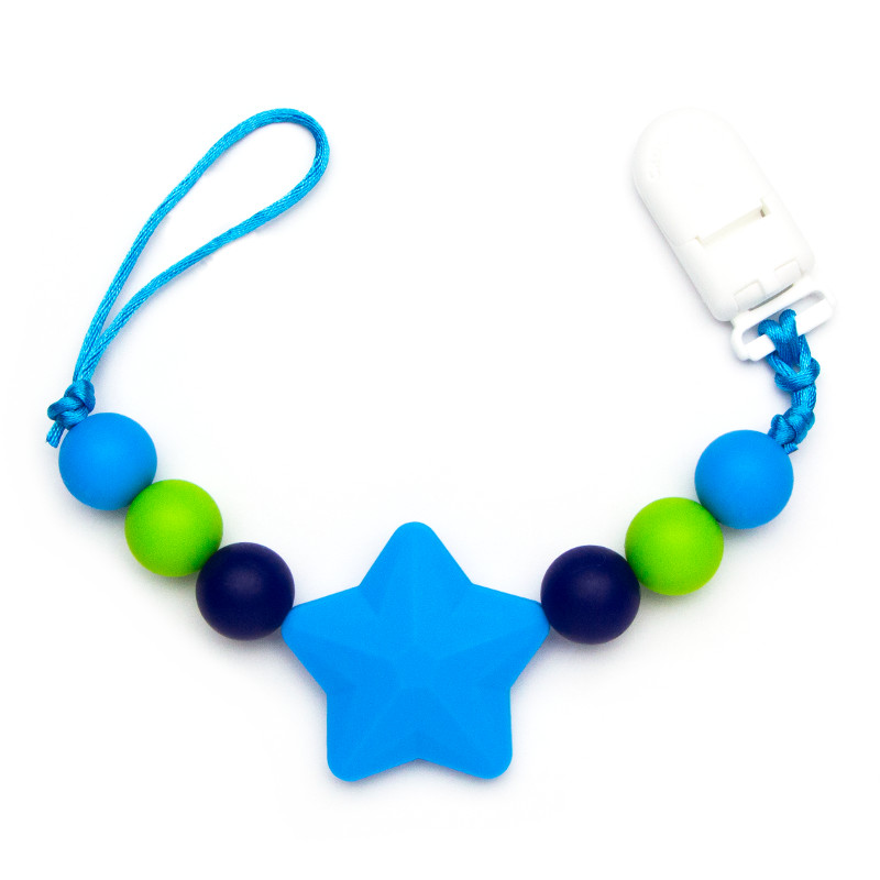 Pacifier Clips Shooting Star - Blue