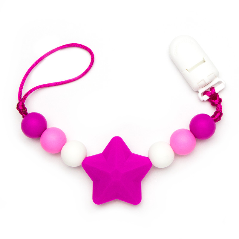 Pacifier Clips Shooting Star - Magenta
