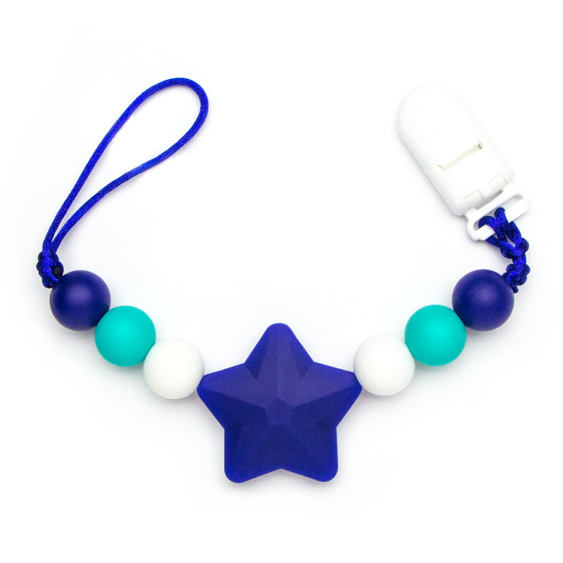 Pacifier Clips Shooting Star - Navy