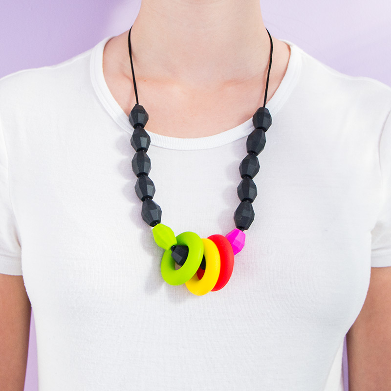 Teething Necklaces Rainbow - Black