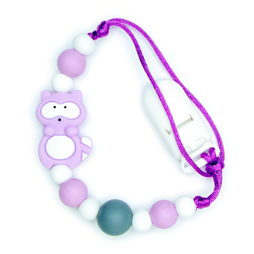 Pacifier Clips Baby Raccoon - Purple
