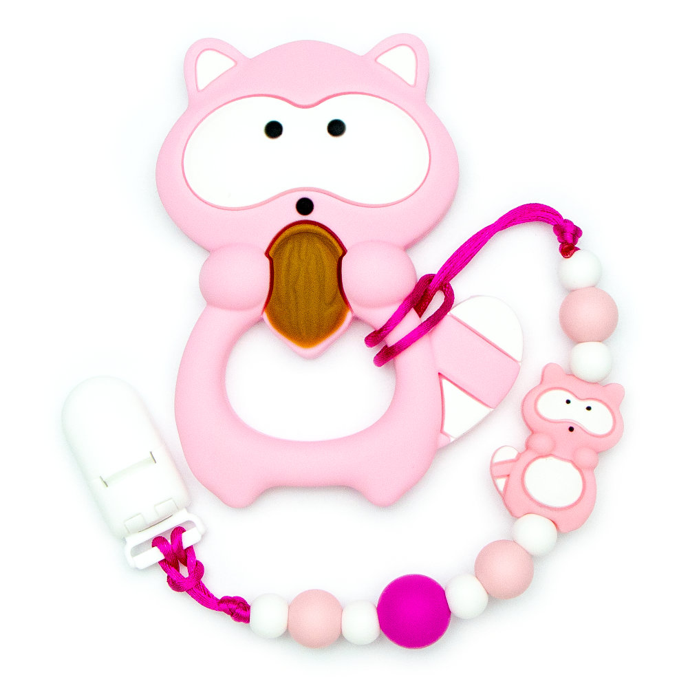 Teething Toys Raccoon - Pink