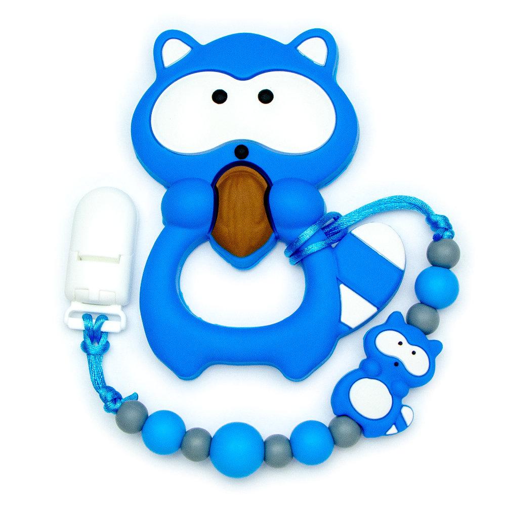 Teething Toys Raccoon - Blue | Croco-Dents com