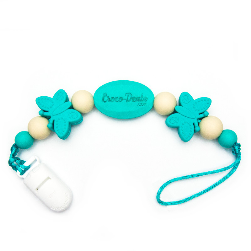 Pacifier Clips Monarch - Turquoise