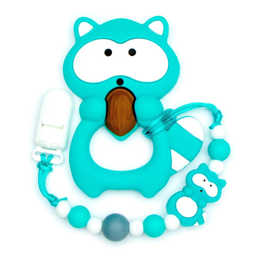 Teething Toys Raccoon - Turquoise