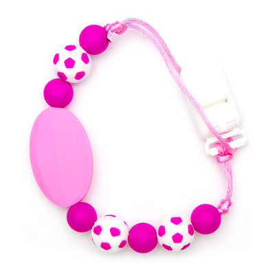 Pacifier Clips Football - Pink