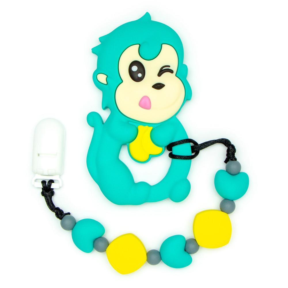 Teething Toys Monkey - Turquoise