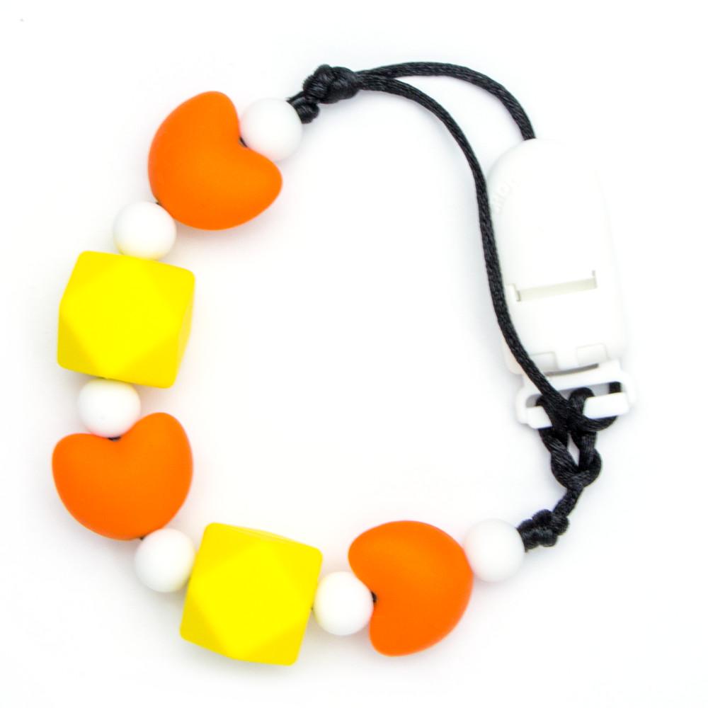 Pacifier Clips Little heart - Orange