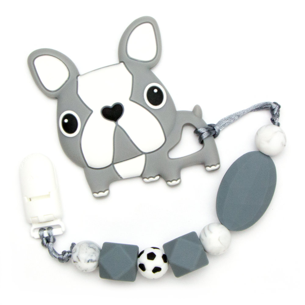 Teething Toys Bulldog - Grey