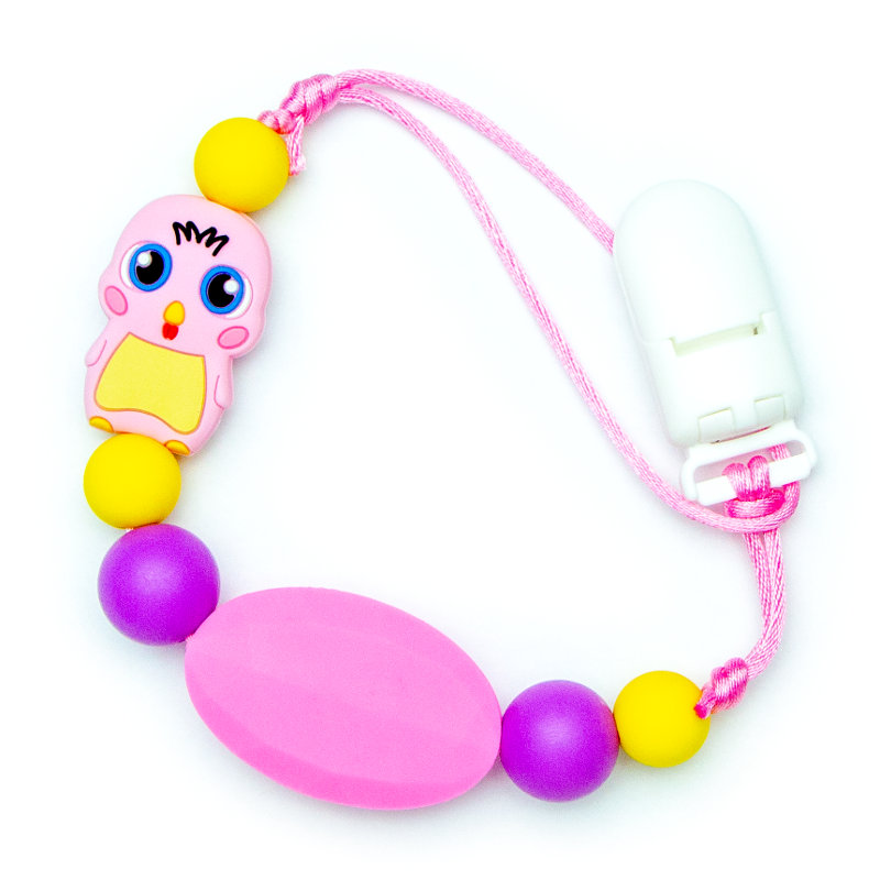 Pacifier Clips Chick - Pink