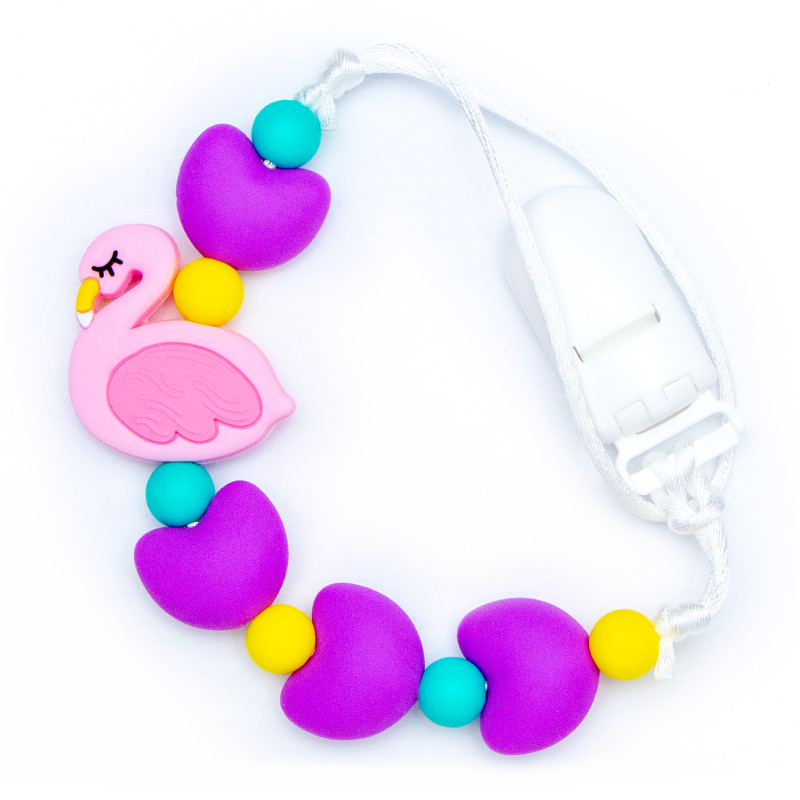 Pacifier Clips Flamingo - Purple
