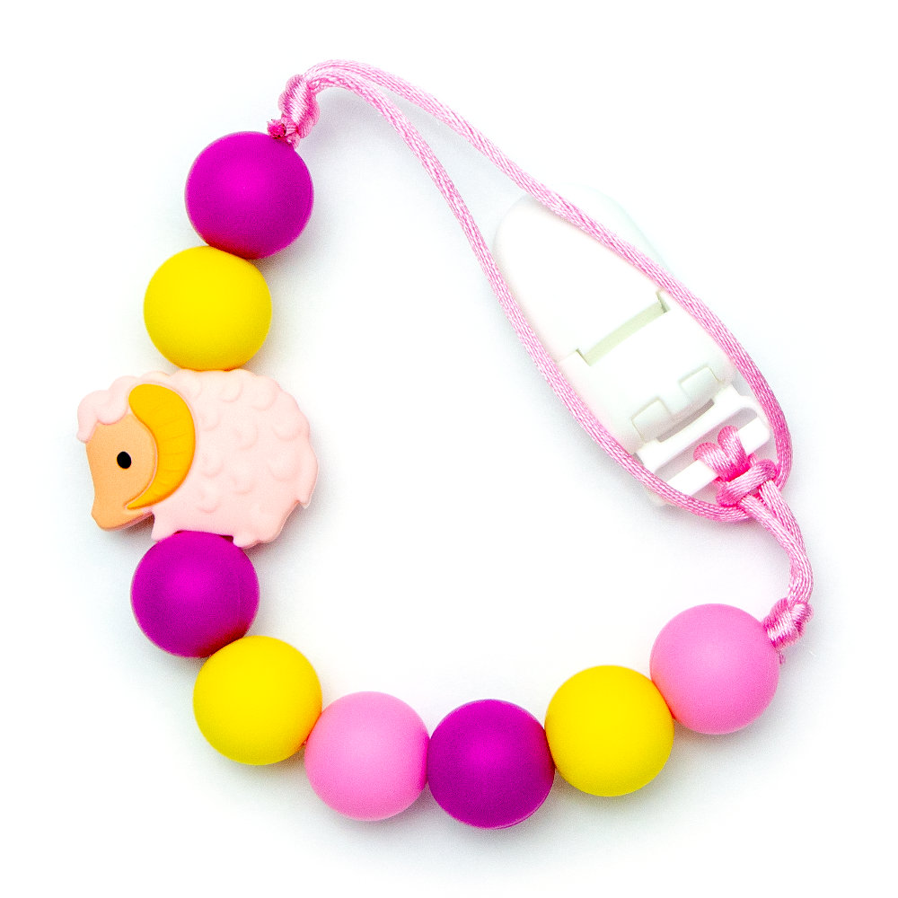 Pacifier Clips Lamb - Pink