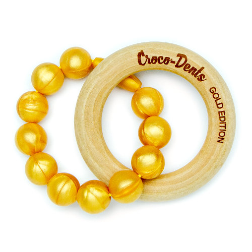 Wooden Teethers Rich Baby - Gold