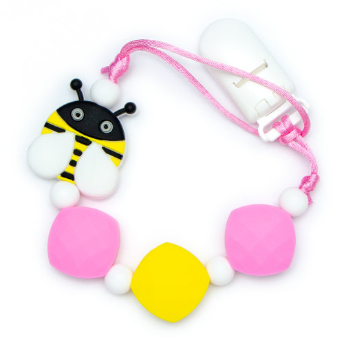 Pacifier Clips Bee - Pink