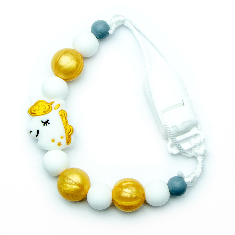 Pacifier Clips Golden Unicorn - Gold
